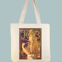 "Alphonse Mucha's ""Job Cigarettes"" Ad Transferred onto 15x15 Canvas Tote - Other Bag Sizes Available"