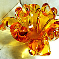 Chalet Amber Glass Bowl , Collectibles  1960 Blown Art Glass