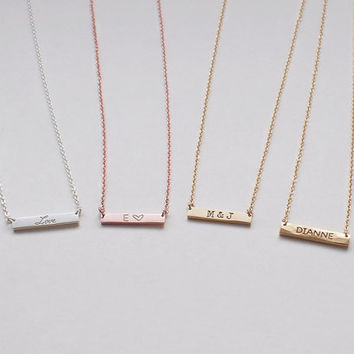 Bar Necklace, Personalized Engraved Name Plate Necklace, Small Skinny Bar Necklace D3.17