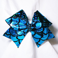 Cheer bow- fish scales cheer bow- cheerleading bow- cheerleader bow- dance bow- softball bow- cheerbow