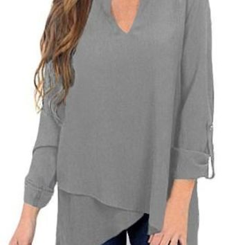 Mode Grey Asymmetric Hemline Roll Tab Sleeve Blouse