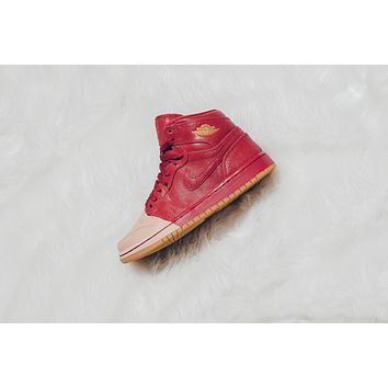 AA QIYIF WMNS Air Jordan 1 Retro High Premium 'Dipped' - Red/Metallic Gold