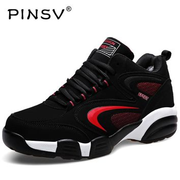 PINSV Winter Sneakers For Men Thermal Sport Shoes Warm Running Sneakers Black Fur Trainers Leather Sneakers Chaussures Krasovki