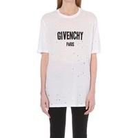 GIVENCHY - Distressed logo-print cotton-jersey t-shirt | Selfridges.com