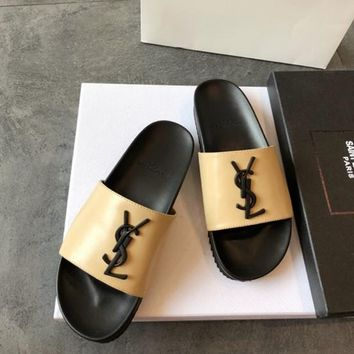 Yves Saint Laurent Fashion Ladies Casaul YSL Logo Casual Sandals Slippers