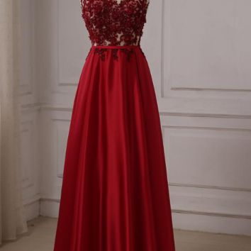 Red Evening Dresses Cap Sleeve Floor Length Beaded Long Party Formal Dress Zipper Back Custom Color