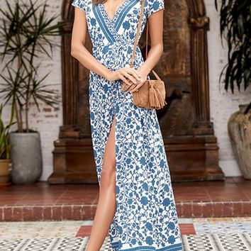 Blue Floral Side Slit Plunging Neckline Vintage Maxi Dress