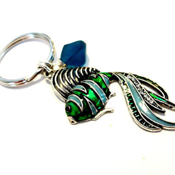 Tropical Fish Keychain,  Hand Wire Wrapped Sea Glass Key Chain, Beach Key Ring, Handbag Accessory, Fashionista Gift