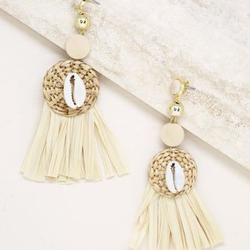 Natural Babe Woven Shell Fringe Dangles