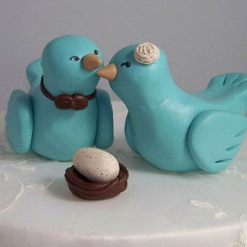 Custom Bird Wedding Cake Topper with Nest by CountrySquirrelsRUS