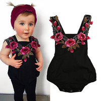 USA Flower Newborn Baby Girls Bodysuit Romper Jumpsuit Sunsuit Outfit Clothes