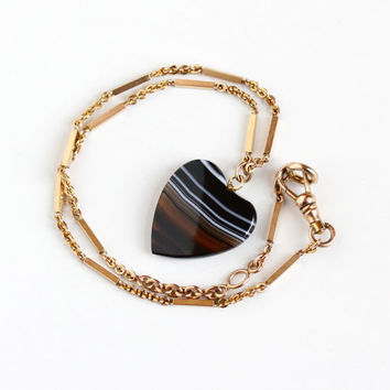 Antique 10k Rose Gold Filled Banded Agate Heart Pendant Necklace - Vintage Victorian Black White Brown Gem Fob on Pocket Watch Chain Jewelry