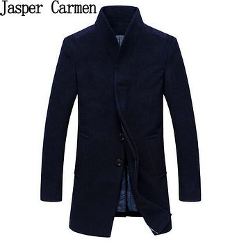 Free shipping 2017 Winter Warm Men Coat Cotton Long Men's Jackets Thick Casual Men Wool Blend Coats Fashion Slim Jacket 155hfx