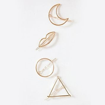 Simple Elegant Metal Geometric Round Triangle Moon Hairpin Hair Clip For Women Jewelry  bijoux