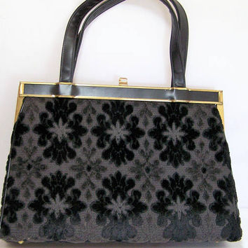 Verdi Black Floral Velvet Carpet Bag Fabric Purse, Double Strap Handbag, Gold Tone Frame, Mid Century Audrey Hepburn Purse 1017