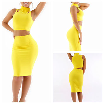 Yellow Halter Shoulder Cut Out Cropped Top and High Waisted Pencil Midi Skirt