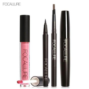 LMF57D FOCALLURE New 4Pcs Easy Lip Makeup Black Eyeliner Pencil Matte Liquid Lipstick Eyes Mascara Black Colors Eyeliner and Eyebrow