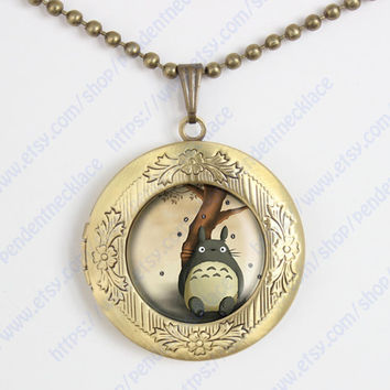 My Neighbor Totoro Glass Pendant Necklace Totoro Necklace, Totoro Pendant, Anime Jewelryvintage pendant locket necklace