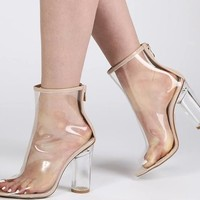 clear heels boots