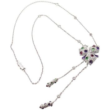 Cartier Caresse D'orchidées Orchid Amethyst Tourmaline Diamond Gold Necklace