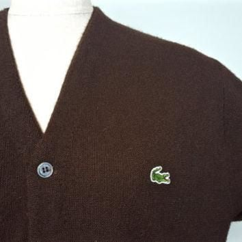 L Vintage Lacoste Izod Cardigan Brown Sweater / Lacoste Brown Button Down Sweater / Vi