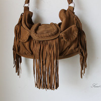 leather brown tan boho fringed southwestern western aztec fringed bag for free people with gypsy soul southwest suede bohemian festival
