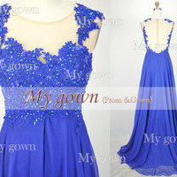2014 Prom Dress,Straps Lace Beads Chiffon Blue Prom Dress, Wedding Dress, Evening Gown,Formal Dresses,Evening Dress