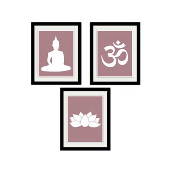 "Namaste. Set of 3. Yoga. Buddha. Lotus. Flower. Pink. Yoga Prints. Minimalist. Meditation. 8.5x11"" Print."
