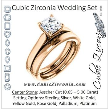 CZ Wedding Set, featuring The Kaela engagement ring (Customizable Asscher Cut Solitaire with Stackable Band)