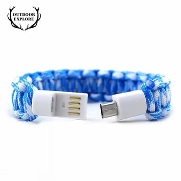 EMAK Outdoor Survival Bracelet USB Cable Paracord Emergency 2.1A Fast Charging Data Line for Android Phone camping equipment