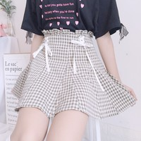 Harajuku Plaid Lace-up Preppy Style Skirt