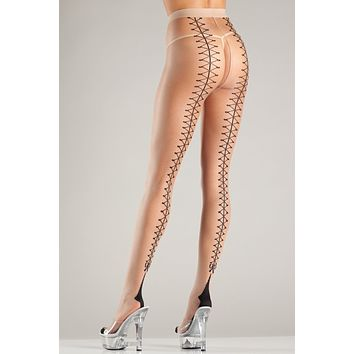 Faux Lace-Up Cuban Heel Tights.
