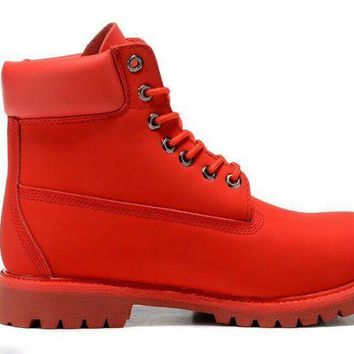 PEAPON Timberland Rhubarb Boots 10061 2018 Red Waterproof Martin Boots
