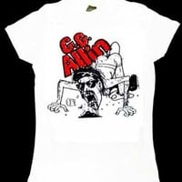 GG Allin- Cartoon Live Pic on a white girls fitted shirt - Band Shirts (Girls)