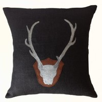 "Amore Beaute Throw Pillow Cover in Black Burlap with Exquisitely Embroidered Antlers - Handcrafted Cushion Cover - Gift for Him - Anniversary Gift - Wedding Gift - Housewarming Gift - Decorative Pillow Cover - Black Burlap Pillowcase (14"" X 14"")"