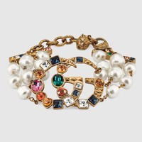 Gucci sexy retro diamond ear ring exaggerated pearl bracelet