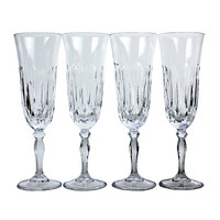 Vintage Crystal Champagne Flutes Cut Pattern Set of 4