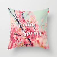 Hello Spring Throw Pillow by Sweet Colors Gallery