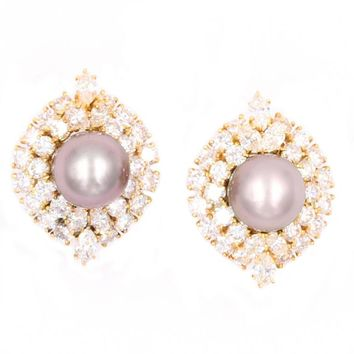 Harry Winston Tahitian Pearl and Diamond Earrings