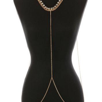 Clear Glass Stone Bib Necklace And Body Chain