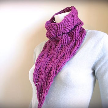 unique long crochet cowl - triangle scarf - dark pink purple chunky scarf - organic fiber - bandit kerchief - ready made by Needless Studio
