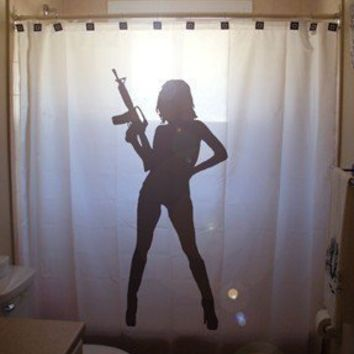 AK47 M16 Pinup Girl SHOWER CURTAIN Sexy by CustomShowerCurtains
