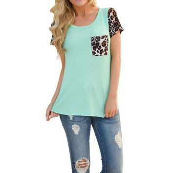 2017 Fashion Women Casual T Shirts Tops Spring short sleeve Leopard Splice Printing Pocket Round Neck Pullover Tops T Shirt