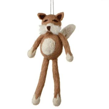 ONETOW 7' Fuzzy Wildlife Friends Brown Fox with Dangling Legs Christmas Ornament