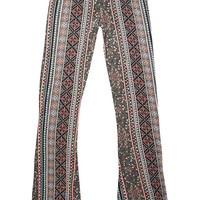 Full Tilt Geo Floral Print Girls Flare Pants Black/Pink  In Sizes