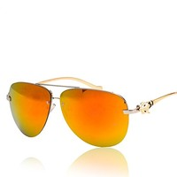 Metal Frame D Shape Synthetic Resin Lens Aviator Sunglasses with Fox Detail 052213 S0606 Color Orange