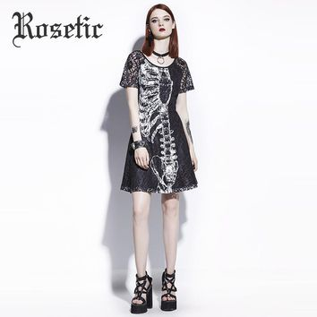 Rosetic Gothic Mini A-Line Dress Black Women Skull Print Lace Hollow Fashion Slim Wild Graffiti Personality Street Goth Dresses
