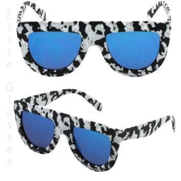 SHADOW TEAR DROP Flat Top Aviator Style Oval Retro ZEBRA Women Elite Sunglasses