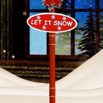 """74"""" Lighted Red and Gold Musical Snowing Santa and Snowman Double Christmas Street Lamp"""