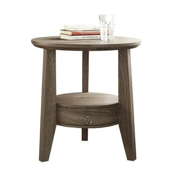 "Dark Taupe Reclaimed-Look 23""Dia Accent Table / 1 Drawer"